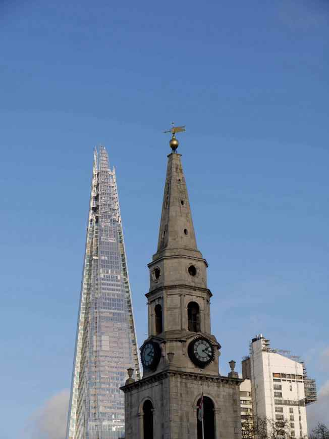 The Shard, St George the Martyr and Guy's Tower.