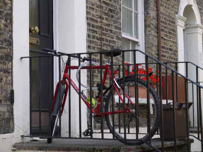 Red Bike and Red Geraniums