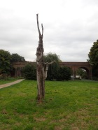 Tree sculpture and railway viaduct