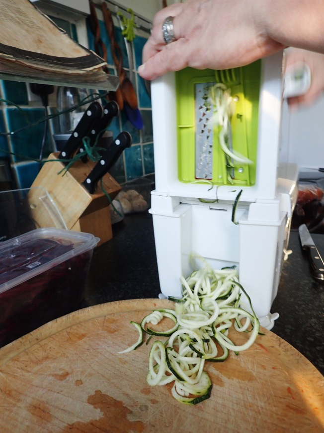 Spiralising the courgette